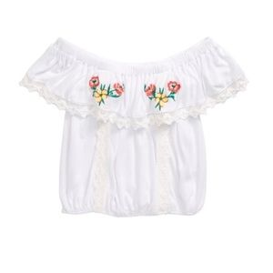 Tucker+Tate Embroidered Off The Shoulder Top
